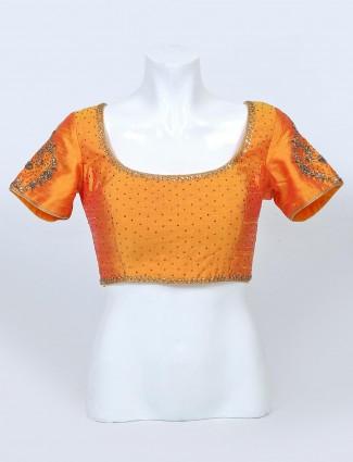Orange raw silk readymade blouse
