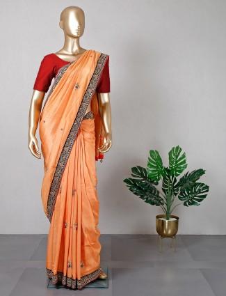 Orange silk festive wear saree