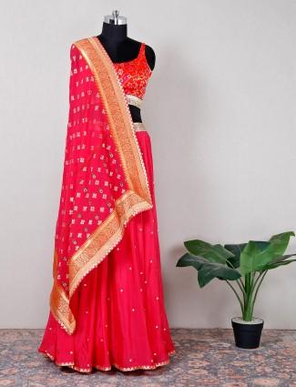 Orange silk lehenga choli for wedding