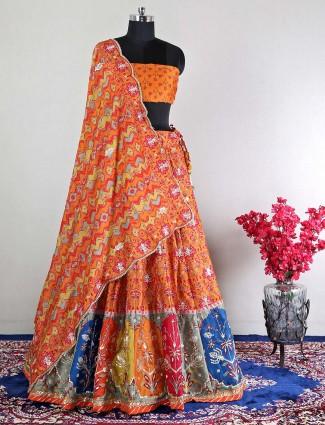 Orange silk semi-stitched lehenga choli for wedding