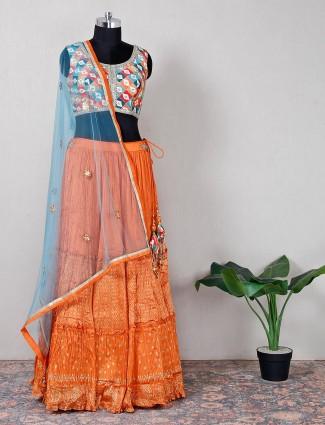 Orange silk wedding occasions lehenga choli