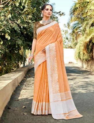 Orange soft linen thread work saree