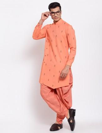 Orange thread detail cotton silk kurta with dhoti