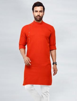 Orange tint cotton kurta suit for fesitve events