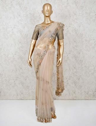 Net designer party wear beige sari