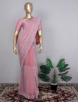 Organza wedding event saree in pink for beautiful lady