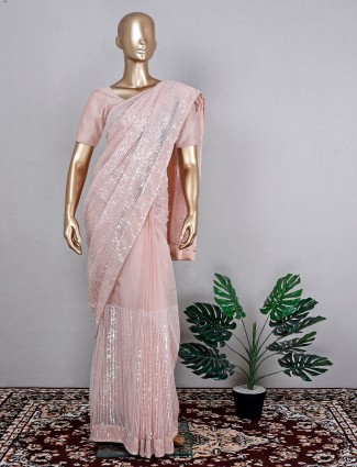 Organza wedding event saree in pink for women