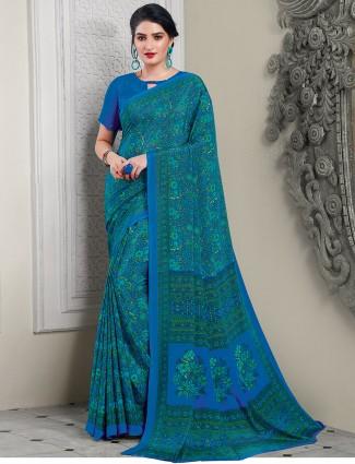 Ornate blue crepe festive saree