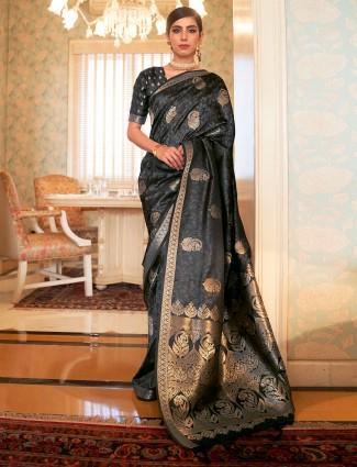 Ornate charcoal grey wedding wear jacquard silk saree for women