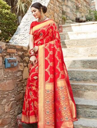 Ornate red wedding wear banarasi silk saree for women