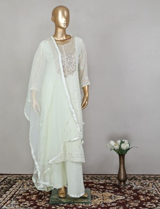 Pale yellow lucknowi palazzo suit in georgette