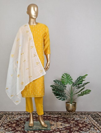 Pant style honey yellow hue wedding wear suit in cotton silk
