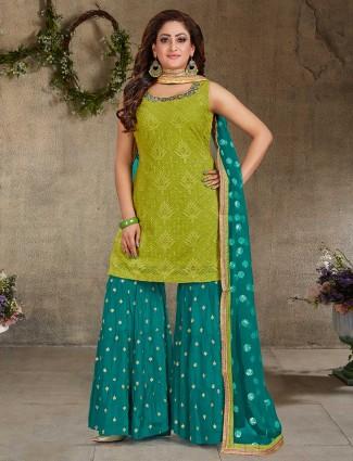 Parrot green and aqua georgette festive punjabi sharara suit