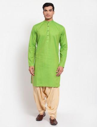 Parrot green hue cotton kurta with patiala for men