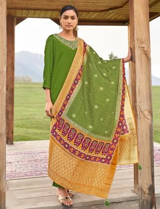 Parrot green punjabi style festive cotton pant suit