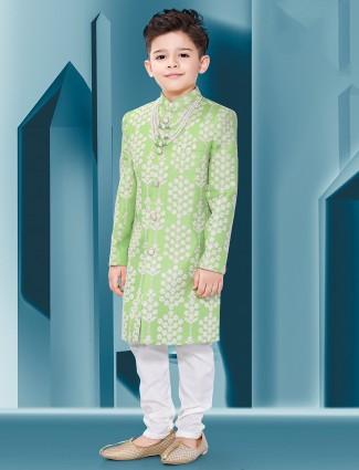 Parrot green wedding wear silk indo western with churidar