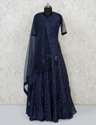 Party function navy floor length gown