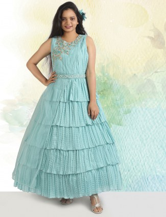 Party occasion designer green hue gown