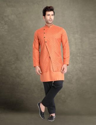 Party orange printed jacket style kurta suit