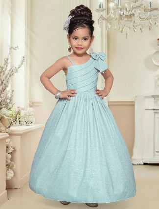 Party wear aqua shade gown for girls