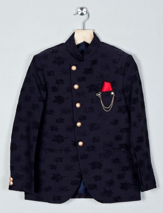 Party wear black terry rayon coat suit for boys