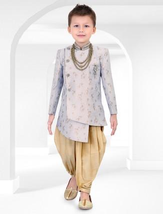 Party wear blue cotton silk fabric indo western