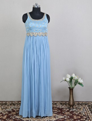 Party wear blue floor length dress for wedding sessions
