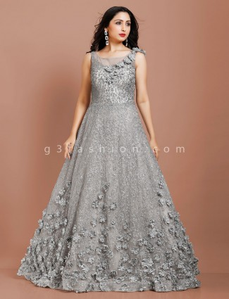 Party occasion designer indo western grey net gown