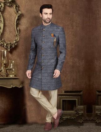 Party wear grey raw silk indo western
