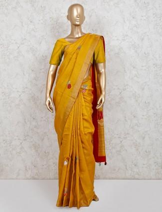 Party wear latest mustard yellow cotton linen saree
