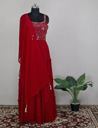 Party wear maroon floor length dress for wedding sessions