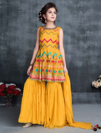 Party wear mustard yellow cotton silk sharara suit