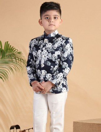 Party wear navy printed terry rayon coat suit for boys