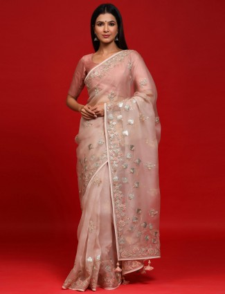Party Wear Off White Organza Silk Saree