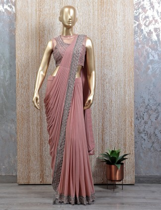 Party wear onion pink eady to wear saree with readymade blouse