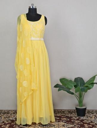 Party wear pine yellow floor length style anarkali suit