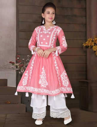 Party wear pink tint cotton palazzo suit