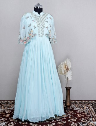 Party wear powder blue floor length dress for wedding sessions