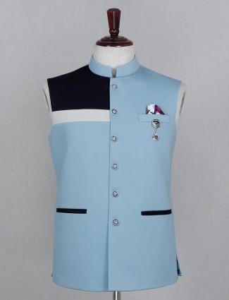Party wear solid blue cotton waistcoat