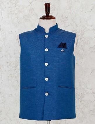 Party wear solid blue silk waistcoat