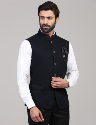 Party wear solid navy knitted waistcoat