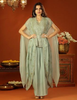 Pastel green cotton silk jacket style wedding events lehenga set