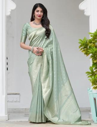 Pastel green gorgeous banarasi silk wedding saree