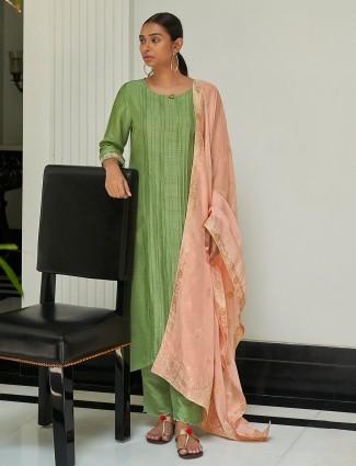 Pastel green punjabi style stripe cotton festive wear pant suit