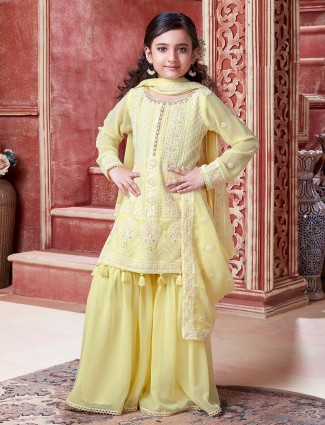 Pastel yellow sharara suit with thread work details