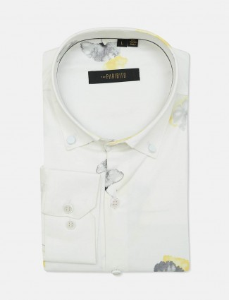 Patibito white printed mens formal shirt
