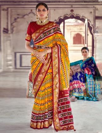 Patola silk classic yellow wedding ceremonies saree