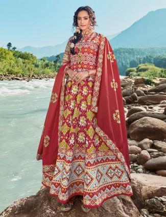 Patola silk floor length maroon anarkali salwar suit for wedding