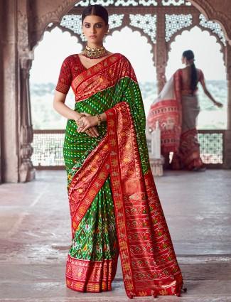Patola silk leafy green wedding events saree