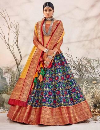 Patola silk royal blue unstitched lehenga for wedding session